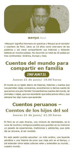 Wayqui, Perú. 21 de junio. Sesión infantil a las 19 horas y para adultos a las 21.30 h. Movies, Movie Posters, To Tell, Continents, June, Short Stories, Films, Film Poster, Cinema
