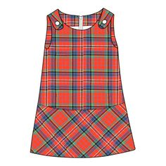 Girl's Tartan Pinafore Dress available in over 500 Scottish tartans. Pictured in MacPherson Red Ancient #tartan