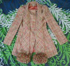 RARE Anthropologie 2002 Elevenses Pom Pom Scarf Coat Tweed 1940's Mad Men s 4 | eBay