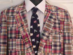 Vintage 70s 80s Madras Plaid Cotton Arnold Palmer John Peel Ltd. Preppy Ivy League Mens Jacket Sport Coat Retro Classic size sz 39 Long. $125.00, via Etsy.
