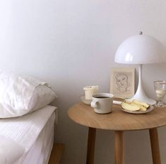 vintage white lamp on wood bedside table. Airy Bedroom, Style Deco, Minimalist Room, Interior Decorating, Interior Design, New Room, Decoration, Interior And Exterior, Sweet Home