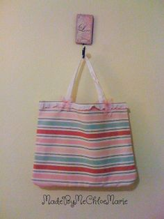 Pink tote bag Stripe pink bag Sailor Striped by MadeByMeChloeMarie, $22.00
