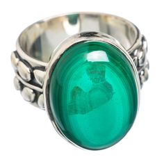 Malachite 925 Sterling Silver Ring Size 6.75 RING765620
