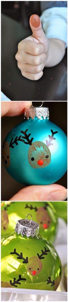 Thumb print Christmas bulbs