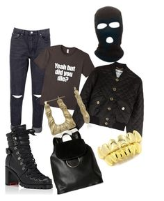 """Mask off"" by clarkconquers ❤ liked on Polyvore featuring Boohoo, Christian Louboutin, Moschino, Bamboo and French Connection"