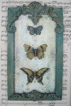 ❥ Vintage Butterfly Painting