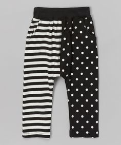 Black Stripe & Polka Dot Harem Pants - Infant, Toddler & Kids