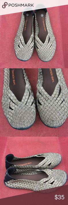 Bernie Mev 38 pewter flats 8 Cute and comfy Bernie Mev ballet flat style woven shoes. The fabric is a pewter or copper metallic finish. Excellent condition with very little sign of wear. Size 38 which is a size 8. bernie mev. Shoes Flats & Loafers