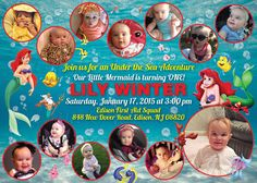 Little Mermaid Birthday Invitation with Monthly Collage The best way to remember your child's first year is to make a photo collage of their monthly photos, and what better way to share it with everyone than on an invitation? This is the perfect memory to share with your family & friends on your child's special first birthday!  I also offer CUSTOM collages with ANY THEMES at all!  Quick turn around time and I guarantee you will LOVE IT!  Copyright © 2015 All rights reserved Anna Roze Design