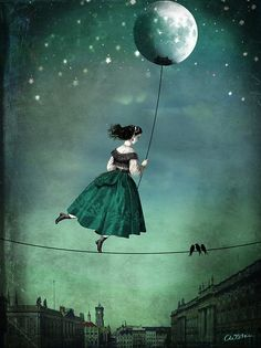 Moonwalk by Catrin Welz-Stein tightrope walking is much less precarious with the lightness of the moon for guidance