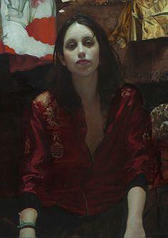 """Reinas de la niche II"" - Jordi Diaz Alama, oil over paper glued on wood, 2015 {contemporary figurative artist beautiful female seated woman cropped painting} diazalama.com"
