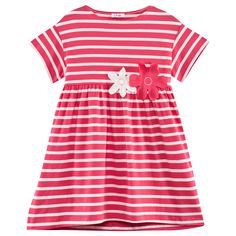 Perfect for a sunny event this season, this jersey dress from Il Gufo deserves a place in your little one's wardrobe. Pink and whi