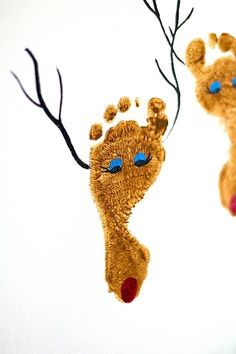 Make a reindeer using footprints!