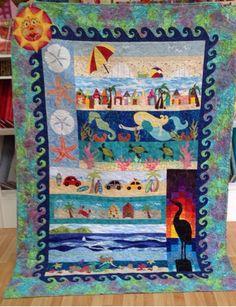 X Strip Quilts, Scrappy Quilts, Baby Quilts, Quilt Blocks, Quilting Board, Quilting Ideas, Quilt Patterns, Ocean Quilt, Beach Quilt