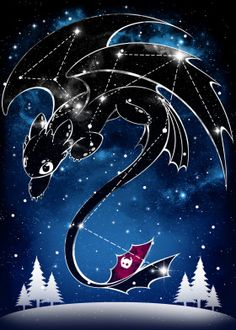 Starry Constellations poster prints by Venetia Jackson Toothless Dragon, Hiccup And Toothless, Wallpaper Kawaii, Cartoon Wallpaper, Httyd Dragons, Cute Dragons, Toothless Wallpaper, Pinturas Disney, Dragon Trainer