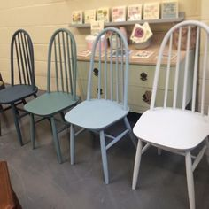 Set of 4 Ercol style chairs each painted in a blue/green shade of Pure & Original Classico Chalk Paint