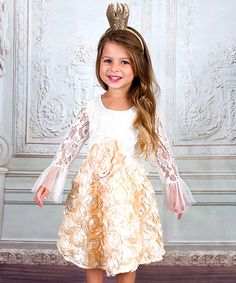 Another great find on #zulily! Crème Beige Rosette Lace Hi-Low Dress - Toddler & Girls #zulilyfinds