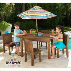 Table and Stacking Chairs Patio Set with Striped Umbrella. Kid-sized outdoor furniture with a stylish flair parents will love.