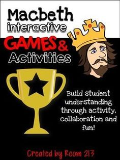 Bring life to Shakespeare with six different activities and games, designed to get your students thinking, moving and having fun! Students can demonstrate their knowledge of Macbeth and get their creative juices flowing. Student Teaching, Teaching Tools, Teaching Ideas, Shakespeare, The Scottish Play, British Literature, Ap Literature, High School English, English Class