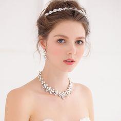 Crystal Floral Necklace Earring Headband Set