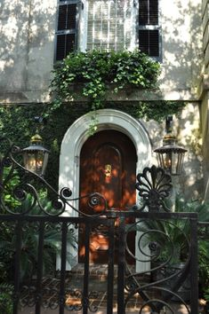 Love the lamps on either side of the ornate iron gates, lush greenery and the Charleston Door !  Beautiful.