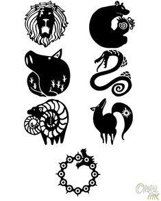 Los siete pecados capitales: tatuajes temporales de cosplay de   Etsy