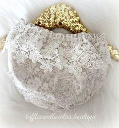 Grey & Cream Faux Lace, Lace Boho Bloomers - Boho Diaper Cover - Boho Baby…