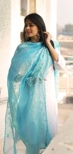 #sky_blue #dupatta with #chikankari #mbroidery