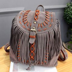 Love the Fringe! Grey and Tan Bohemian Style Casual Drawstring and Faux Suede Design Satchel For Women #Grey #Tan #Bohemian #Style #Bags #Accessories