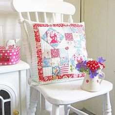 Here is my finished cushion made with Tilda Circus fabrics.....loving the reds and the blues from this collection at the moment but there are some lovely teal and green prints too....more about this make on my blog this week....link in profile......Happy new week everyone ❤️🐘✂️🎪🐘❤️#tildacircusfabrics #sewandso #patchwork #quilting #handsewn #makersmake #ilovefabric #economyblock #summersewing