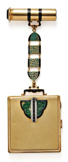Art Deco Lady's 18kt Gold, Enamel, and Jade Compact and Lipstick Case, France, the square compact with platinum, rose-cut diamond, and buffed onyx mount, opening to a mirrored powder compartment, and joined to a lipstick case by enamel panels, 95.8 dwt, total lg. 5 7/8 in., no. 18911, maker's mark and guarantee stamps.
