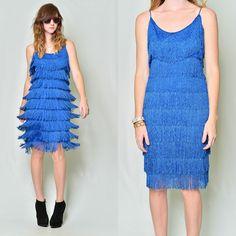 Vintage 80s Does 20s Cobalt Tiered Flapper Fringe Cocktail Party Holiday Dress S | eBay