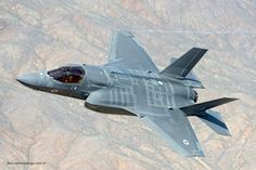 Air to air image of a RAF F-35B Lightning ll aircraft.
