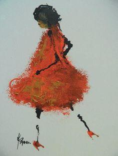 PALAZZO Marie, née en 1967 Fille coquelicot Peinture sur carton, signé