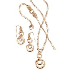 "Give classic silhouettes an upgrade with the mix of goldtone and silvertone in this three piece set with a design of connecting circles on the pendant, bracelet, and earrings.· Necklace: 16 1/2"" with Lobster Claw clasp and 3 1/2"" L extender· Pendant: Removable, 1 9/16"" L x 3/4""W· Bracelet: 7 1/4"" L with Lobster Claw clasp and 1"" L adjustable extender· Bracelet linked rings: 1 1/6"" L x 7/16"" W· Earrings: 1 3/4"" L x 5/8"" W with Fish Hook and rubber stopper clutch· Imported"