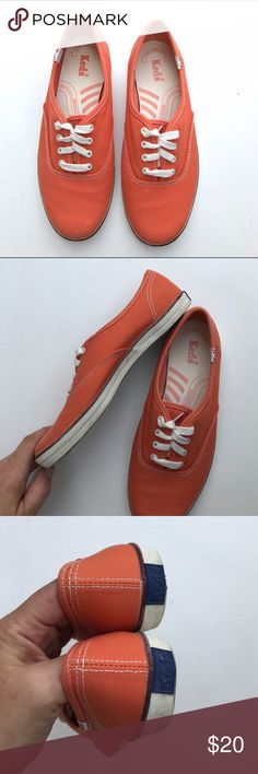Ked's Super orange color! Size 7. Upper fabric in very nice shape. White rims have been cleaned but still have a little darker look here and there - not perfect. (I clean again before shipping to get it to the next cleanest level). Soles show more dirt than wear .... love this color! Keds Shoes Sneakers