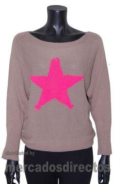 Suéter de Otoño para Mujer con Estrella Estampada, Tienda Outlet de Ropa de Mujer Barata