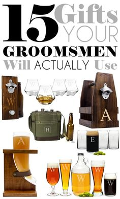When it comes to figuring out what to give your groomsmen, you want something that is unique and useful. We've curated some great groomsman gift ideas that should make your search a little bit easier. Here's 15 of our favorite gifts your best man and groo Gifts For Wedding Party, Party Gifts, Wedding Favors, Wedding Parties, Bridal Gifts, Diy Gifts, Wedding Groom, Our Wedding, Dream Wedding