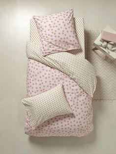 Bettbezug 'Butterblume' - Camelfarbig/grau+Rosa getupft/senfgelbe Dreieic+Senfgelb getupft/graue Dreieck - 3