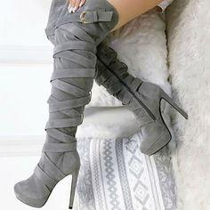 Shoespie Platform Buckle Side Zipper Stiletto Heel Knee High Boot Heel Height:13cm
