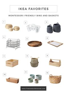 IKEA favorites: Montessori friendly containers, baskets and trays . - IKEA favorites: Montessori friendly containers, baskets and trays - Ikea Montessori, Montessori Toddler Rooms, Montessori Bedroom, Montessori Preschool, Ikea Toddler Room, Maria Montessori, Toddler Toys, Do It Yourself Ikea, Decoration Creche