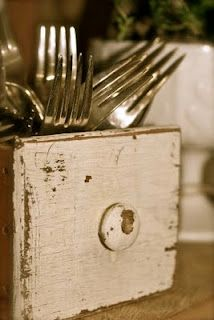 """USE AN OLD SEWING MACHINE DRAWER FOR A SILVERWARE CADDY...CHECK OUT OUR VINTAGE SEWING MACHINE DRAWERS @ WWW.MODERNREVIVALRENTALS.COM UNDER COLLECTIONS- """"BRAXTON"""" BOX COLLECTION!"""