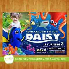Finding dory invitation Finding dory party Finding by AppleInvites