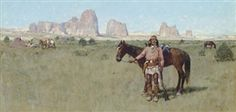 Artwork by Henry Francis Farny, Warrior and Teepees, Made of watercolor and gouache on paper laid down on board kp