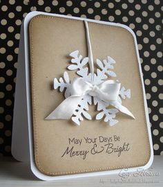 luv the fine glitter on the snowflake...contrast between pure white snowflake and earthy kraft ...