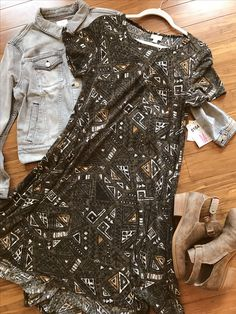 acb601b1b1bf9a Love this edgy lularoe look with a Carly and Harvey denim jacket. Paired  with cute