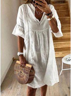 FloryDay / Casual Solid Hollow Out V-Neckline A-line Dress Half Sleeve Dresses, Half Sleeves, Types Of Sleeves, Short Sleeves, Dresses Dresses, Dresses Online, Floral Dresses, Elegant Dresses, Printed Dresses