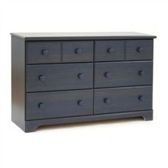 Dark Blueberry Wood Finish 6 Drawer Bedroom Dresser