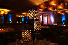 Candlelit Indian wedding reception centerpiece