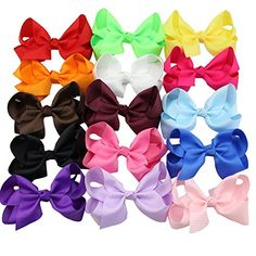 QtGirl 15 Pieces 55 Jumbo Solid Color Boutique Style Hair Bow with Clip ** Be sure to check out this awesome product.